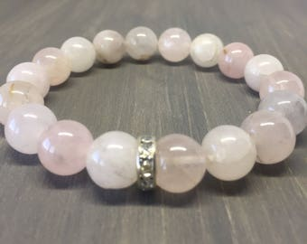 10mm Rose Quartz Crystal Bracelet - Gemstone Bracelet - Yoga Bracelet - Friendship Bracelet - Chakra Bracelet - Reiki Bracelet