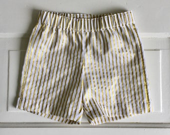 Baby shorts- toddler shorts -Kids shorts- boys shorts- girls shorts- short pants- white and gold shorts