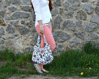 White Hobo Bag Handbags Summer White Shoulder bag Flowers Hobo bag  Large tote For women For wife Girlfriend gift Unique flowers bag