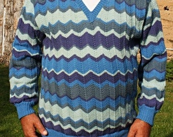 hand knitted wool man sweater