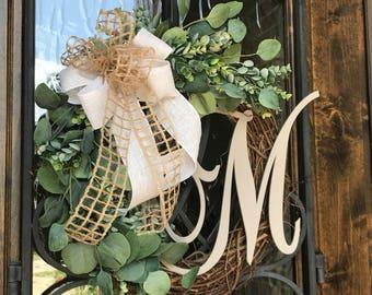 "Eucalyptus Grapevine w/ Monogram Initial Wreath - 18"""