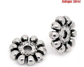ON SALE Antique Silver Finish 10 mm Daisy Spacer Beads (SB-10-As-1), 25 count