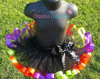 Halloween tutu, solid black tulle; lime, purple, orange ribbon trimmed tutu ONLY