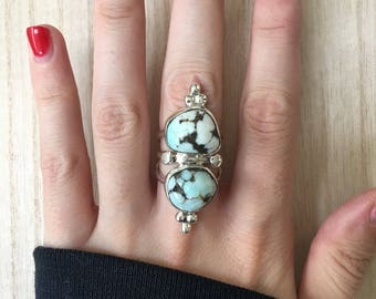 Sterling Silver New Lander Turquoise Ring. Size 6