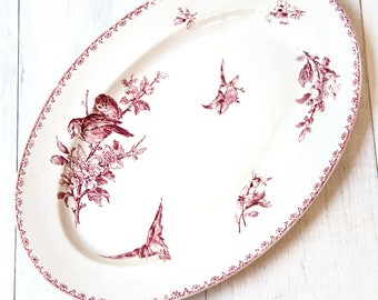 Early 1900s Ironstone Large Platter - Sarreguemines Favori - Red / Pink Transferware - Free Shipping Within the USA