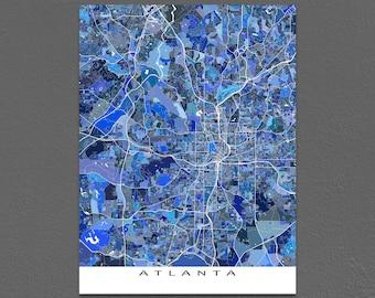 Atlanta Map, Atlanta Georgia, City Map Art Print, Atlanta GA