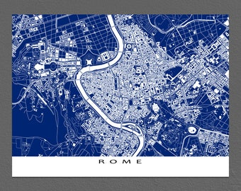 Rome Print, Rome Map Art, Rome Italy, Blueprint City Map