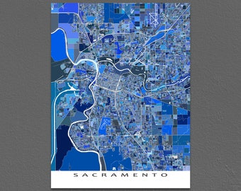 Sacramento Map, Sacramento California USA, City Art Print, Cartography Poster