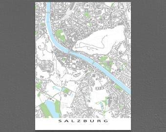 Salzburg, Austria City Map, Salzburg Map Art Poster, Buildings