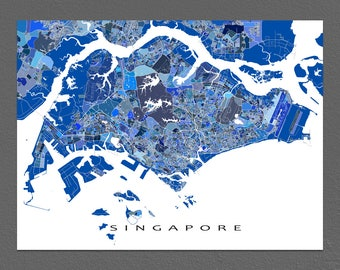 Singapore Map, Singapore Print, Asia City Map, Travel Art