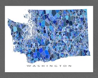 Washington Map Art, Washington Print, WA State Maps