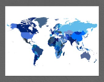 World Map Print With Countries, Blue Earth Art