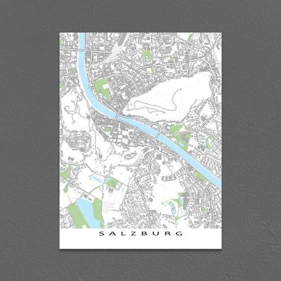 Salzburg Austria City Map Salzburg Map Art Poster Buildings