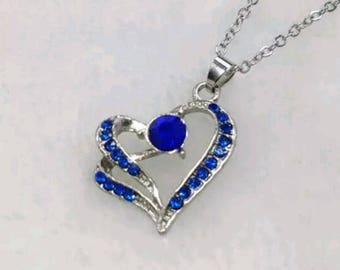 "16"" Silver Alloy and Royal Blue Heart Shaped Pendant Necklace"
