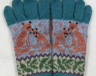 Fox gloves, handknit gloves, Handmade gloves, fox mittens, wool gloves, fairisle gloves, stranded gloves, animal gloves, winter gloves ,