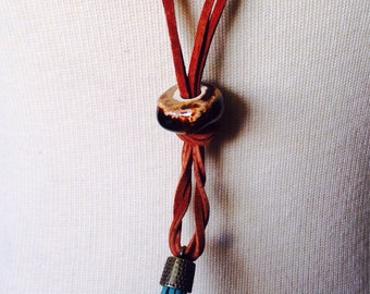 Tassel necklace with handmade ceramic bead/ trendy long Y shaped necklace/ layer with your faves