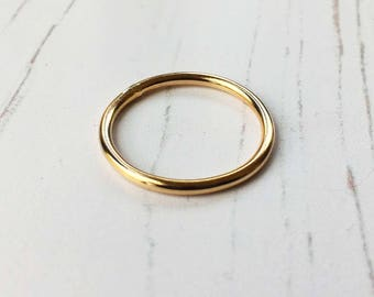 Gold ring, gold stacking ring, gold fill ring, polished gold stacking ring, gift for her