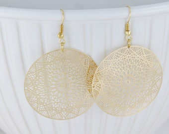 "gold disc earrings filigree medallion scroll cut out round mandala dangle earrings gold dangle earrings 2.5"" long very lightweight dangles"