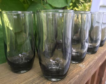Vintage Set of 8 Smoked Glass Juice Glasses 1960s