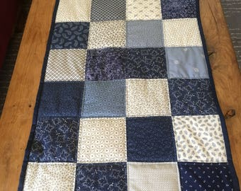 Table runner- shades of blue -- Colonial Manor fabric- quilted patchwork