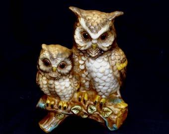 Vintage owl figurine-horned owl sculpture-mother baby