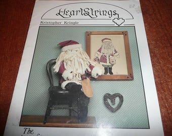 Vintage Heartstrings Kristopher Kringle Counted Cross Stitch Pattern Leaflet