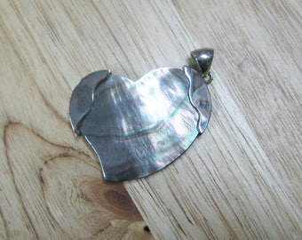 Mother of Pearl Heart Pendant with Silver Loop Bail