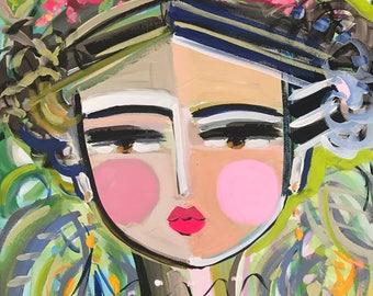 "Portrait PAINTING ""Ziva"" woman art impressionist modern abstract girl on ORIGINAL"