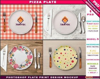 White Pizza Plate | Photoshop Print Mockup P5-1 | Movable plate | Table Styling | Cutlery Napkin | Smart object Custom color
