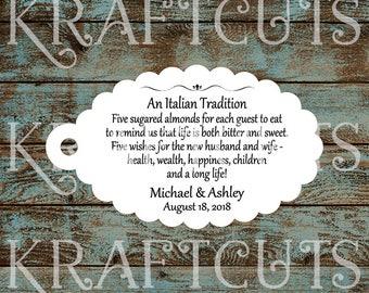 Favor Tags, Jordan Almond Favor Tags, Sugared Almond Favor Tags, Italian Wedding Favor Tags #760 - Qty: 30 Tags