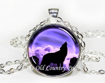 Purple Moon Wolf- Glass Pendant Necklace/Mother's day/Moon Necklace/gift for her/girlfriend gift/wolf gift/wolf necklace/birthday gift