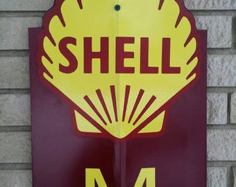 Shell motor oil tin advertising sign
