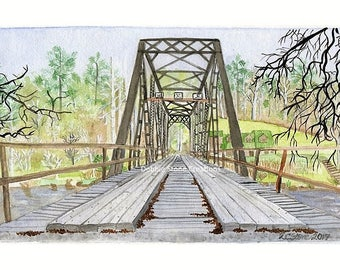 Sean's Bridge,Print of the Original Acrylic on Watercolor Painting, Debbie Stone,Shallowford Bridge,Blue Ridge, Landscape Print