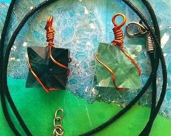 Light or Dark Green FLUORITE  MERKABA Star PENDANT with Copper Wrap, Sacred Geometry Necklace, With Black Hemp Chain