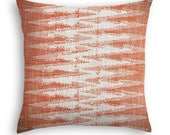 Ikat pattern pillow cover in shades of persimmon orange and cream - Boho pattern pillow cover - Trendy cushion cover  -