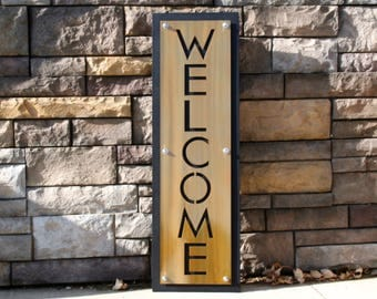 Upright Gold and Black Stainless WELCOME Sign, entryway welcome, modern welcome, welcome to our home, outdoor welcome sign, metal welcome