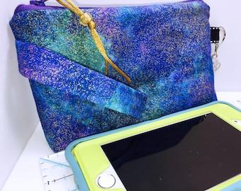 Blue Metallic Fleck Wristlet, Phone Case, Women's Small Wallet, Multi-Purpose Wristlet, HEAVILY Padded, Coupon Organizer, Zipper Pouch