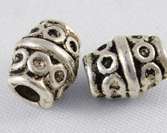8mm Barrel Spacer Beads/ Bali Beads/ Spacer Beads/ Bead Spacers/ Silver Spacer Beads/ Metal Beads/ Jewelry Supplies/ Metal Spacer Beads