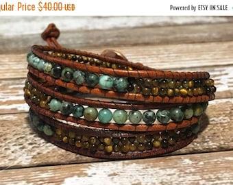 SALE African Turquoise Bracelet / Tigers Eye Bracelet / Chan Luu Style Wrap Bracelet / Healing Crystal Bracelet / Chan Luu Bracelet