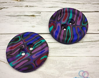 2 Buttons 24mm handmade Efimoni DIY sewing