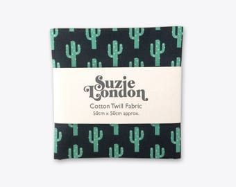 Sparkly Cactus Cotton Twill Fabric in Midnight Blue
