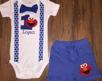 SALE***Elmo Birthday Outfit with Suspenders, Bowtie & Shorts