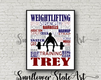 Personalized Weightlifting Poster, Weightlifter Gift Ideas, Weightlifting Art, Weightlifter Print, Typography, Weightlifting Team
