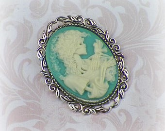 Skeleton Cameo Pin Brooch Pastel Blue Green Goth Victorian Vintage Style Steampunk Gothic Skeleton Antique Silver Style