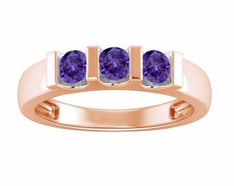 3/4ct Round Cut Amethyst Three Stone Wedding Anniversary Band Ring In  14K Solid Rose Gold