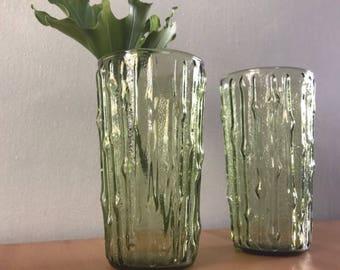 "Pair of vintage Anchor Hocking ""Tahiti"" bamboo textured avocado green glass tumblers for Boho or tropical Old Florida bar cart!"
