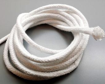 1 meter braided baker's cord, white, 6 mm