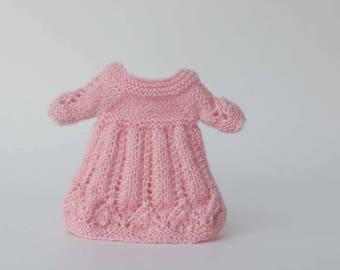 Blythe dress, Pink clothes for Blythe doll, Knitted pink outfit, Blythe doll knitting, Pullip pink clothes, Blythe knitted dress, Mini dress