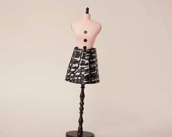 Black silver leather doll skirt Blythe black leather clothes 1/6 scale doll skirt Silver doll outfit Blythe short skirt Black doll outfit