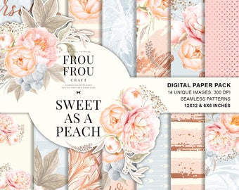 Pastel Floral Paper Pack, Peach Blue Wedding, Watercolor Flowers Wedding Designer Paper Pad, Bridal Planner Stickers, Feminine Fabric, Peony